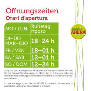 SPORTS ARENA öffnungszeiten  08-2017.indd